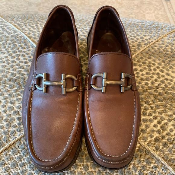 Salvatore Ferragamo Gancini Bit Leather Loafers
